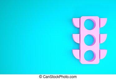 3d, vrijstaand, verkeer, roze, licht, render, achtergrond., blauwe , pictogram, minimalism, illustratie, concept.