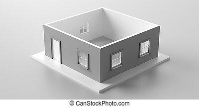 3d, vrijstaand, woning, model, roofless, achtergrond., illustratie, tegen, witte