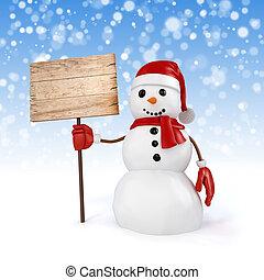 3d, vrolijke , sneeuwpop, vasthouden, een, wooden board, meldingsbord, op, snowflakes, achtergrond