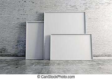 Parete vendemmia cornice vuoto mattone bianco 3d - Cornici finestre in mattoni ...