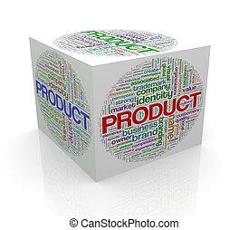 3d, würfel, wordcloud, wort, etikette, von, produkt
