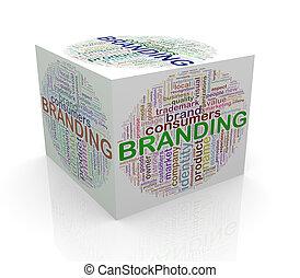 3d, würfel, wort, etikette, wordcloud, von, brandmarken