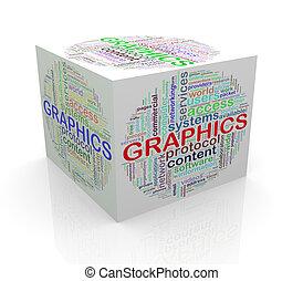 3d, würfel, wort, etikette, wordcloud, von, grafik