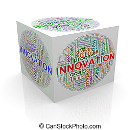 3d, würfel, wort, etikette, wordcloud, von, innovation