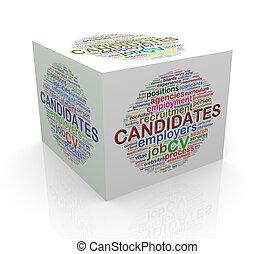3d, würfel, wort, etikette, wordcloud, von, kandidaten