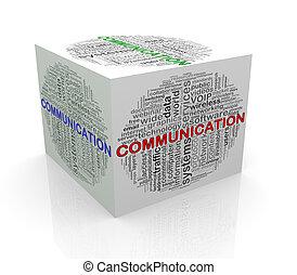 3d, würfel, wort, etikette, wordcloud, von, kommunikation