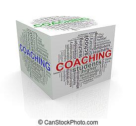 3d, würfel, wort, etikette, wordcloud, von, trainieren