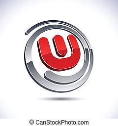 3D w letter icon. - Vector illustration of 3D w symbol.