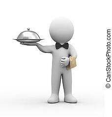 3d waiter holding dish - 3d illustration of professional...
