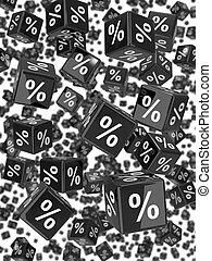 3d Wall of black percent dice