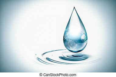 water drop with the world inside