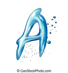 3d water letter A