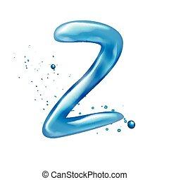 Water letter z  Beautiful blue water letter z alphabet symbol