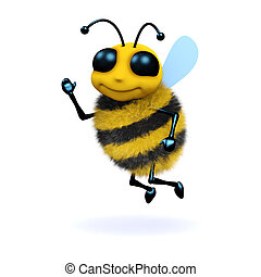 3d Waving bee - 3d render of a bee waving his hand in...