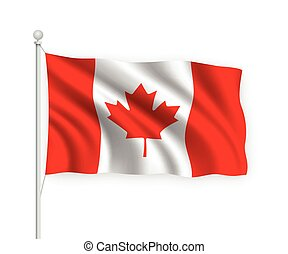 3d waving flag Canada Isolated on white background.