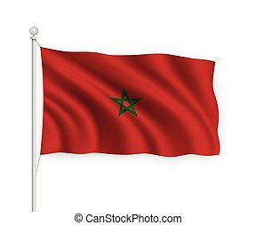 3d waving flag Morocco Isolated on white background.