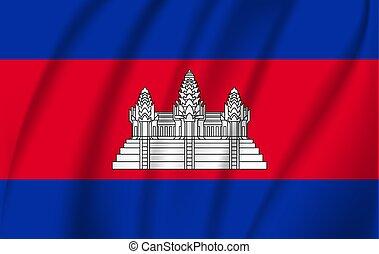 3D Waving Flag of Cambodia. Vector illustration