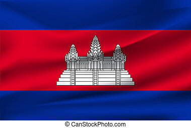 3D Waving Flag of Cambodia. Vector illustration