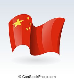 3D Waving flag of China. Vector illustration. Isolated on white background. Design element