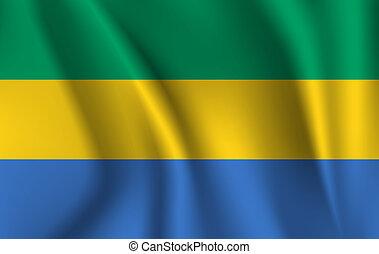 3D Waving Flag of Gabon. illustrations. 10 eps