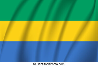 3D Waving Flag of Gabon. Vector illustrations. 10 eps