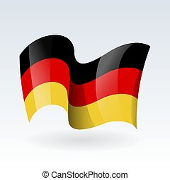 3D Waving flag of Germany. Vector illustration. Isolated on white background. Design element
