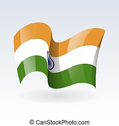 3D Waving flag of India. Vector illustration. Isolated on white background. Design element