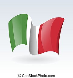3D Waving flag of Italy. Vector illustration. Isolated on white background. Design element