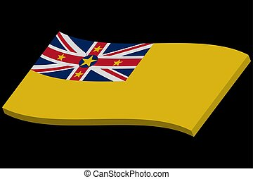 3D Waving flag of Niue. Vector illustration