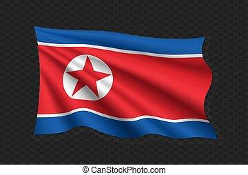 Flag Of North Korea 3d Wallpaper Illustration Illustrations And