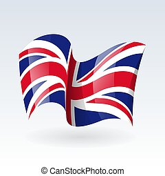 3D Waving flag of United Kingdom Great Britain . Vector illustration. Isolated on white background. Design element