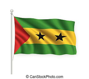 3d waving flag Sao Tome and Principe on flagpole Isolated on white background.