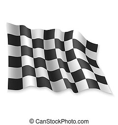 3D Waving Flag. Vector illustration