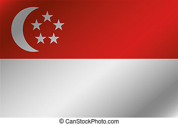 3D Wavy Flag Illustration of the country of  Singapore