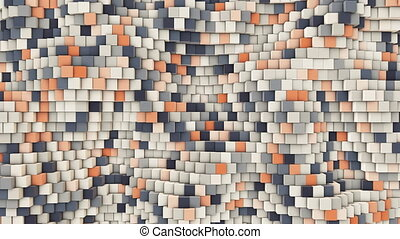 3d wavy square background, slow motion abstract background