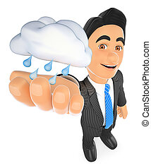 3D Weather man with a cloud with rain. Rainy day