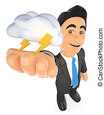 3D Weather man with cloud and lightning. Thunderstorm day