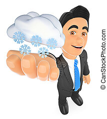 3D Weather man with cloud and snow. Snowing day