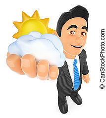 3D Weather man with sun and cloud. Cloudy day