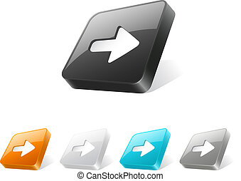 3d web button with arrow icon