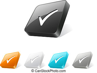 3d web button with check mark icon
