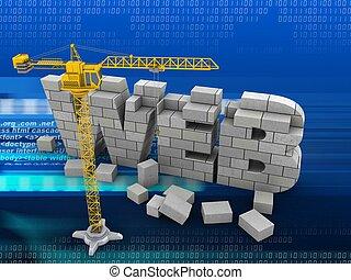 3d web development - 3d illustration of web development over...