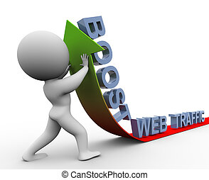 3d web traffic boost - 3d man pushing arrow up. Concept of...