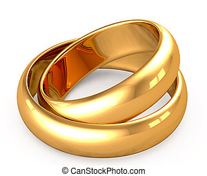 3d wedding gold rings on white background