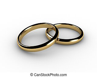 3d wedding rings, over white with shadows