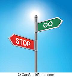 3d, wegaanduiding, gezegde, stoppen en gaan