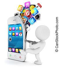 3d, weißes, leute, öffnet, a, smartphone