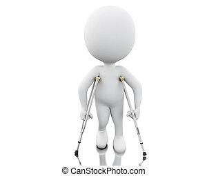 3d, weißes, leute, auf, crutches.