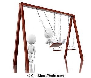 3d, weißes, leute, auf, der, swing.