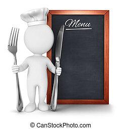 3d, weißes, leute, küchenchef, mit, menükarte